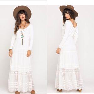 Free People Earth Angel ivory lace maxi dress